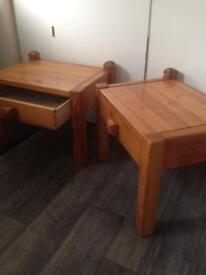 Pair Swedish pine bedside end tables