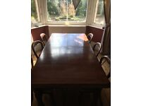 Large reproduction polished victorian solid wood table , 8 chairs and wind out extending mechanism
