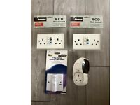 RCD Wall Socket 13Amp Twin + 7 Day Digital Security Light Switch - All New