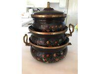 Decorative Pots x 3 with lids