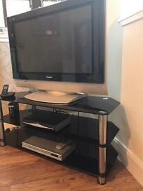 Glass tv stand with 32inch wide screen tv