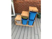 3 IKEA Trofast storage units with boxes