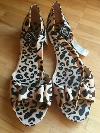 Next animal print sandals Bnwt size 5