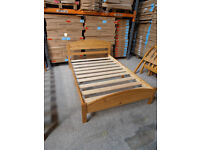 4ft Solid Pine, antique pine finish, small double panel bed in a box frame, HUGE DISCOUNT just £55!