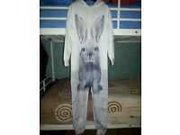 Girl's White NEXT Bunny Onesie, Age 9 yrs, Never Been Worn, Zip Up