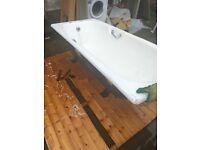Cast iron bath - heavy duty with taps