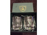 Pair of thistle etched Burns Crystal glasses, unused, boxed and still stickered.