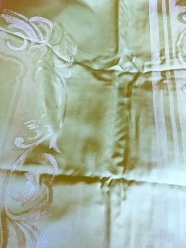 Antique Linen Damask Tablecloth & 8 Napkins Rectangular 70x108 Pistachio Green