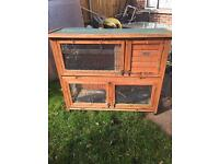 Rabbit hutch two tier double hutch with removable floor
