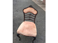 Lovely Bedroom Chair , Good Shape and Design . Covered in a dusky pink velvet material.