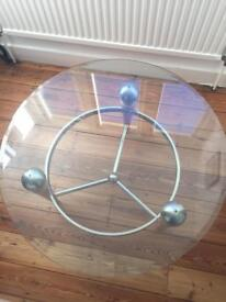 Circular glass occasional table
