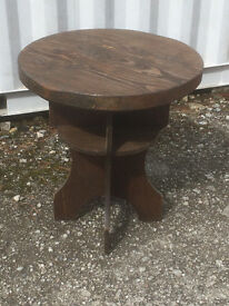Vintage Round Cornish Bar Table Solid Oak