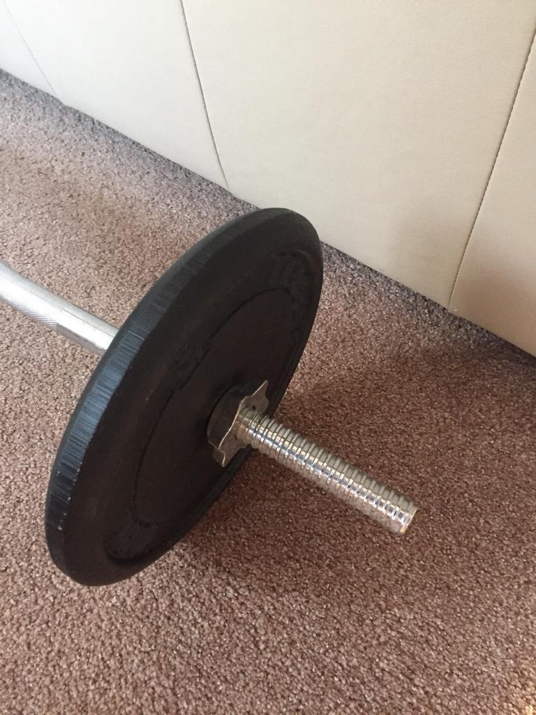 York Curl bar with 2 10k weights