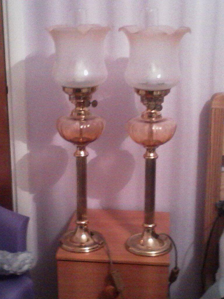 PAIR OF CORINTHIAN COLUMN BRASS LAMPS