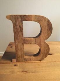 Solid wooden letter B for wedding or home
