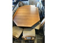 CJ Rosengaarden Danish 20th Century Octagonal Extendable Dining Table & 6 Chairs