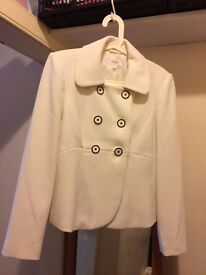 M&S Classic Cream double breasted short smart women's jacket sz 14, hardly worn, monochrome buttons