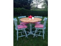 Solid Pine Round Dining table and 4 chairs Annie Sloan