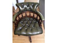 CHESTERFIELD LEATHER CHAIR SWIVEL DESK OFFICE SEAT