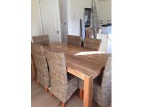 Modern Rattan Oak Dining Table Set with 6 Rattan Chairs