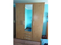 For sale 3 Drawer Large Mirrored Wardrobe