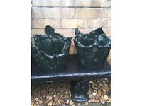 Quirky green pair of plant pots for sale green colour