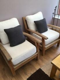 Hardwood outdoor chairs x2
