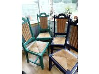 4 carved wooden chairs