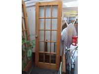 2 x wooden & glass doors