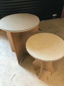Two chipboard tables with glass tops - for sale together or separately