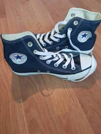 Ladies converse trainers high tops navy & white size 3 new girls shoes