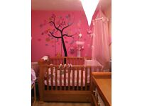 Sleigh cot bed and matching wardrobe