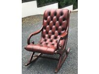 Stunning Chesterfield Burgundy Leather Rocking Chair