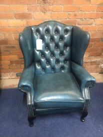 'Blue' Rare Colour Chesterfield Leather Wing Chair - UK Delivery