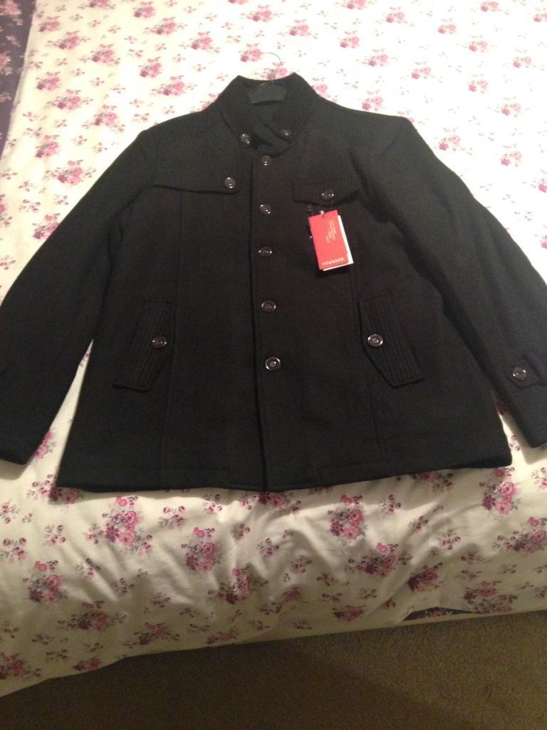 Quality black heavy cotton jacket / coat