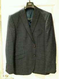 Navy Blue M&S Designer Mens Blazer 42 Short Subtle Check