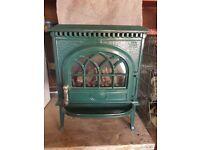 Joutal 3 gas fire in dark green enamel