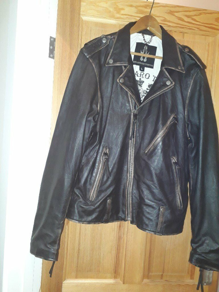 Large men's distressed brown leather jacket