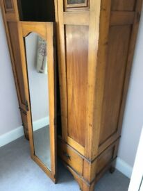 1920's Solid Pine Antique Wardrobe with mirrored middle door and bottom drawer