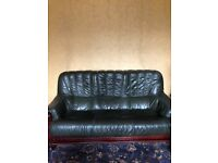 Bottle Green Leather Sofa - Condition: Good