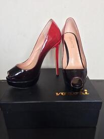 Black and Red High Heels Size 5. Ombre. LouBoutin Inspired. Peep Toe.