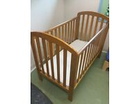 Wooden Mothercare cot.