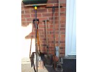 Mixed Garden Job Lot ; Garden rake, Brush, Spade, shovel, Hoe. (used) Collection Kirkby Notts