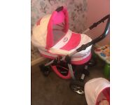 White and pink 3 in 1 pram
