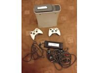 White Microsoft Xbox 360 Core 60GB Video Game Console With Two Controllers - Full Working Order