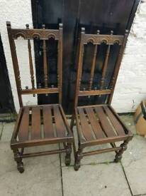 2 Vintage elm Ercol gothic chairs