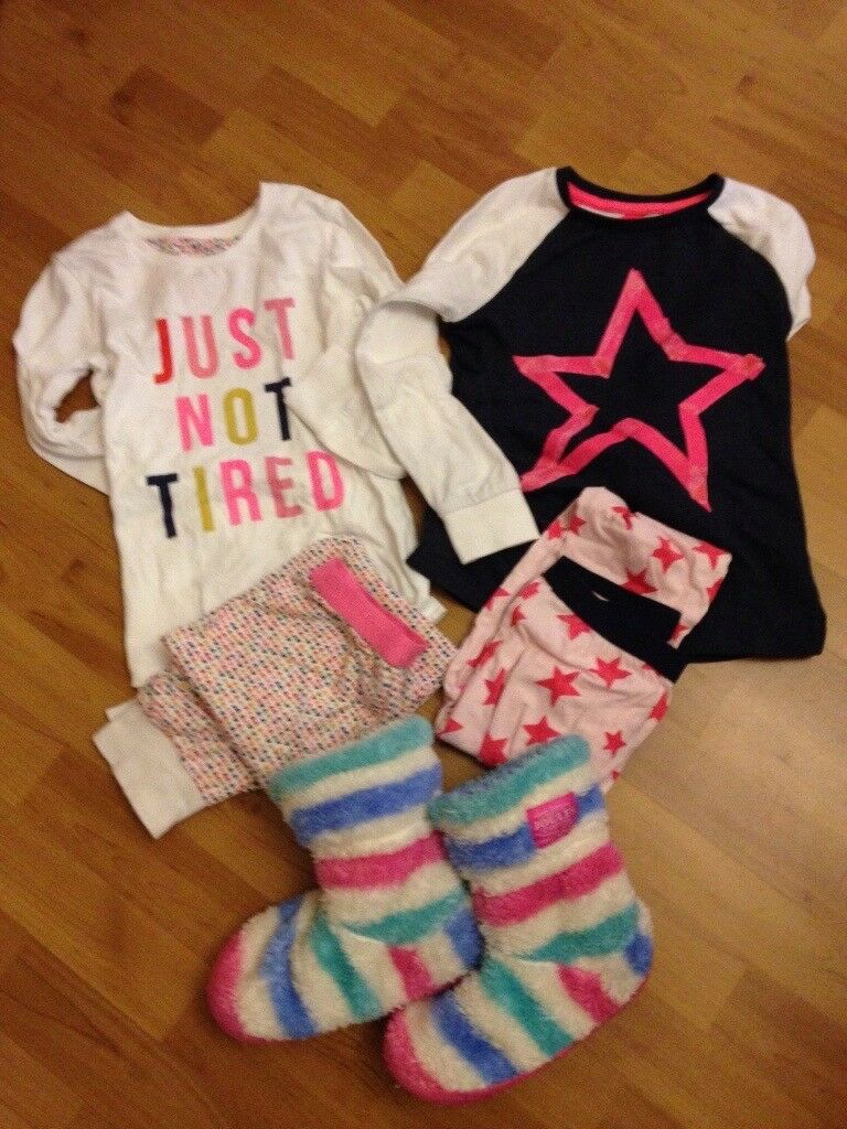 Next Pyjamas 2 pack age 7-8, Joules slippers shoe size 11-13.