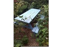 chunky pub style garden bench table seating. Free delivery