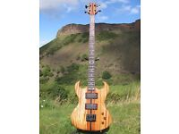 Hand Made Bass Guitar. Zebrano Body, Status Pickups, 2 Octave Through Neck. New
