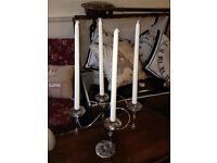 Silver Candelabra Wedding Taper Candle Centre Piece Chandelier Silver 4-arm Candelabra